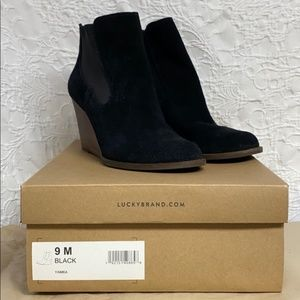 Black Suede Wedge Booties Yamka